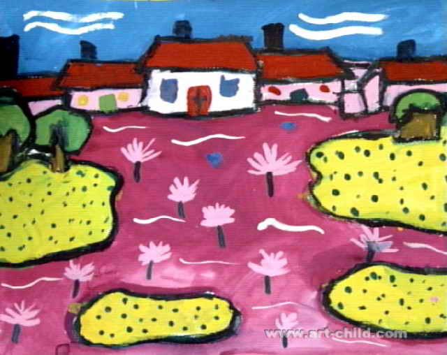 梦里的风景儿童画属于水粉画,长508px,宽640px,作者 .