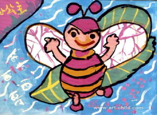 小蜜蜂去旅行儿童画2幅