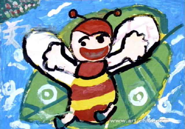 蜜蜂采花蜜 小蜜蜂去旅行儿童画2幅