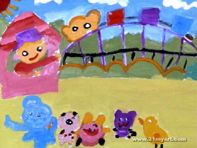 小动物坐过山车儿童画作品欣赏