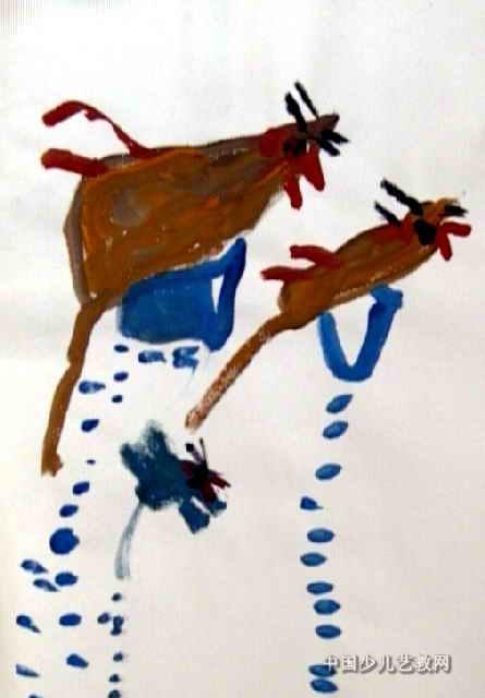 老鼠偷米儿童水粉画
