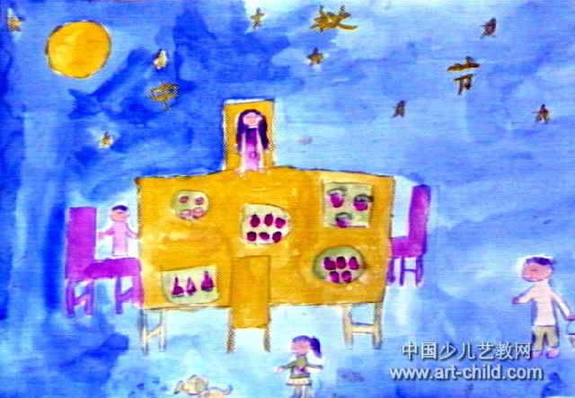 中秋节儿童画2幅