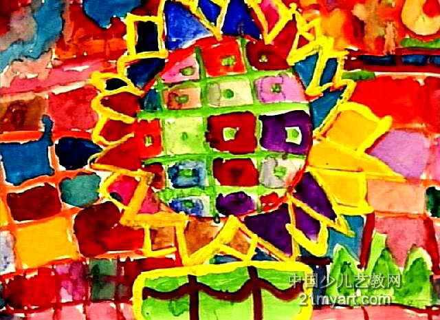 桌子上的向日葵儿童画作品欣赏