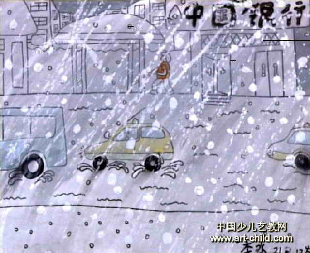 下冰雹雨儿童画作品欣赏