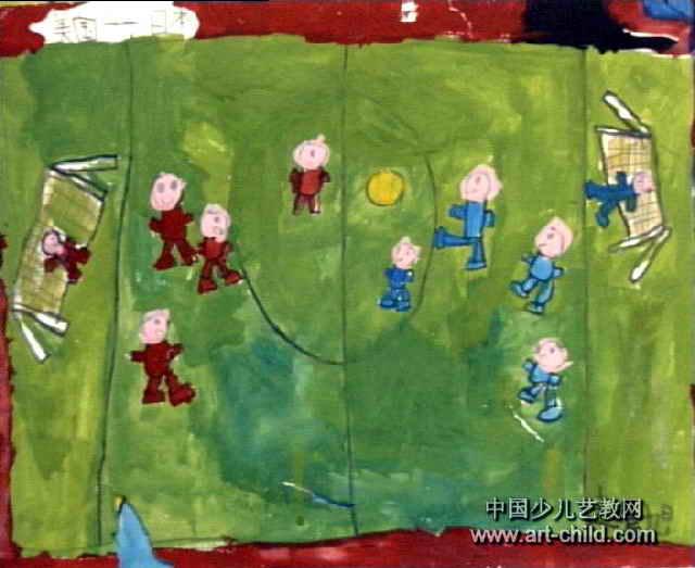足球赛儿童画3幅图片