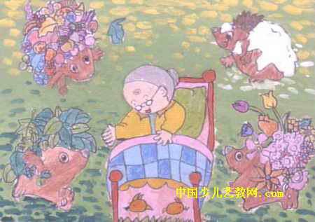 奶奶的四季儿童画