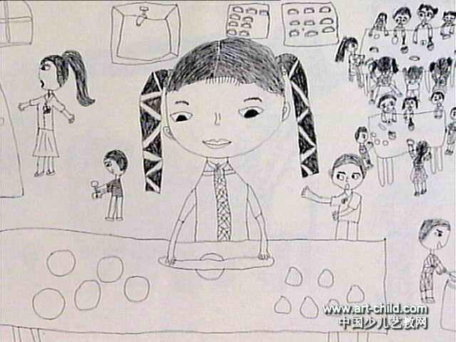 彩笔画树儿童画展示