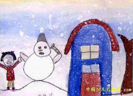 大雪天儿童画