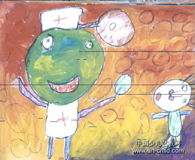 儿童画医生看病_一幅我是小小消防员的画