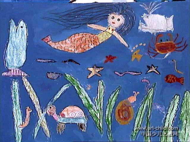 海底世界儿童画属于水粉画,长480px,宽640px,作者路乾隆,女,5岁,就读