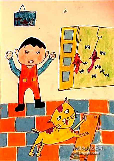 馋嘴猫儿童画2幅