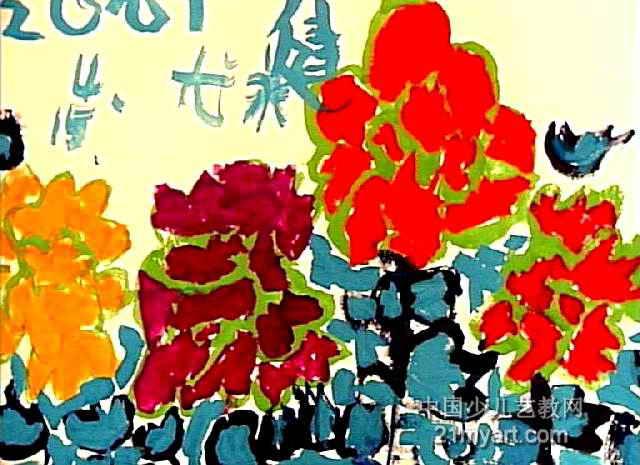 春天来了儿童画,此幅水粉画尺寸为465x640像素,作者尤永健,来自洛阳市