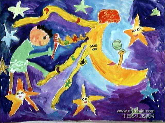 给月亮姐姐梳辫子儿童画作品欣赏