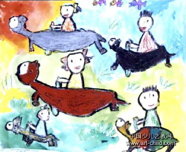 骑驴比赛儿童画图片