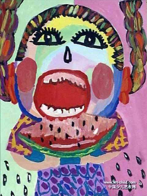 吃西瓜的妹妹儿童画作品欣赏