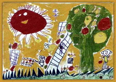 苹果丰收了儿童水粉画
