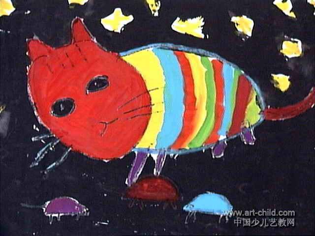 猫捉老鼠儿童画7幅(第2张)