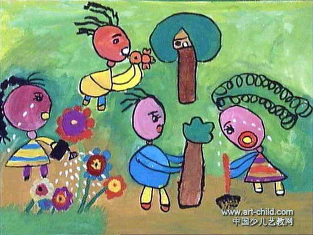 让我们一起建美丽家园儿童画作品欣赏
