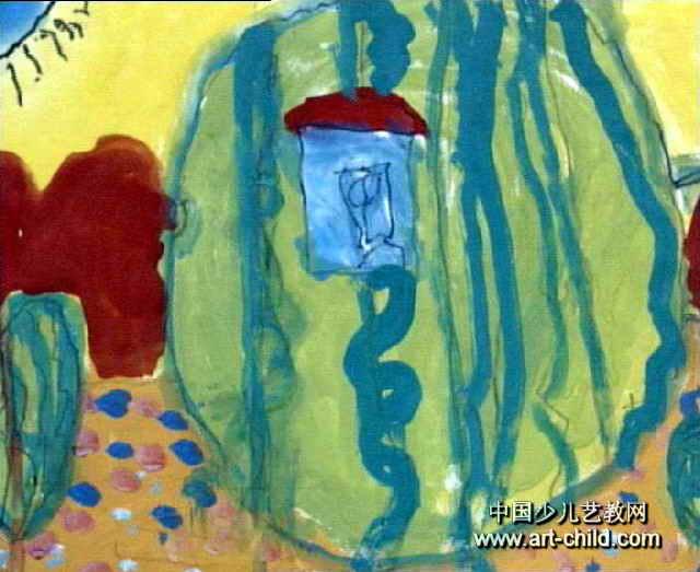 西瓜房子儿童画作品欣赏