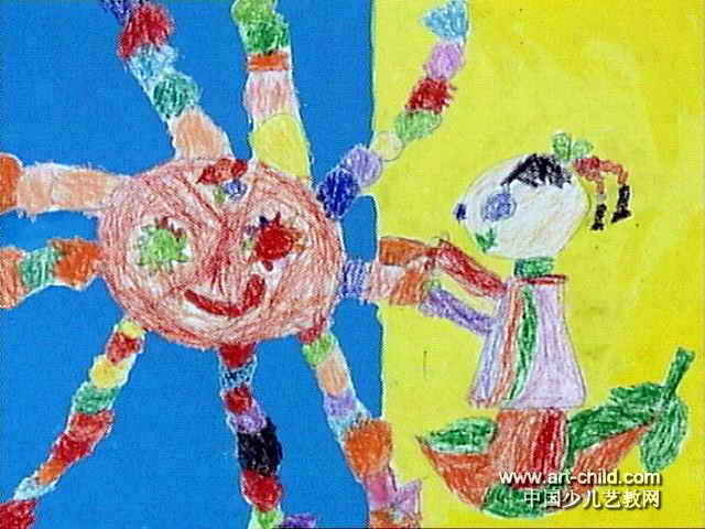 我给太阳梳头发儿童画作品欣赏