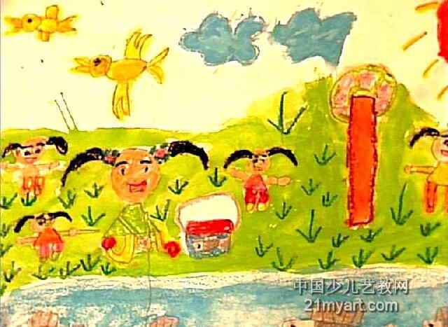 英语连环画图片4幅-春游儿童画,这幅水粉画作品长467px,宽640px,作者赵佳佳,女,6