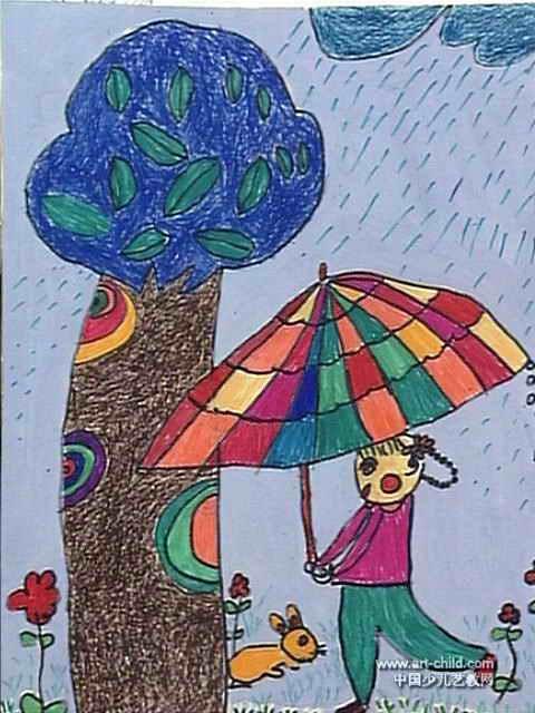我给小兔撑把伞儿童画图片