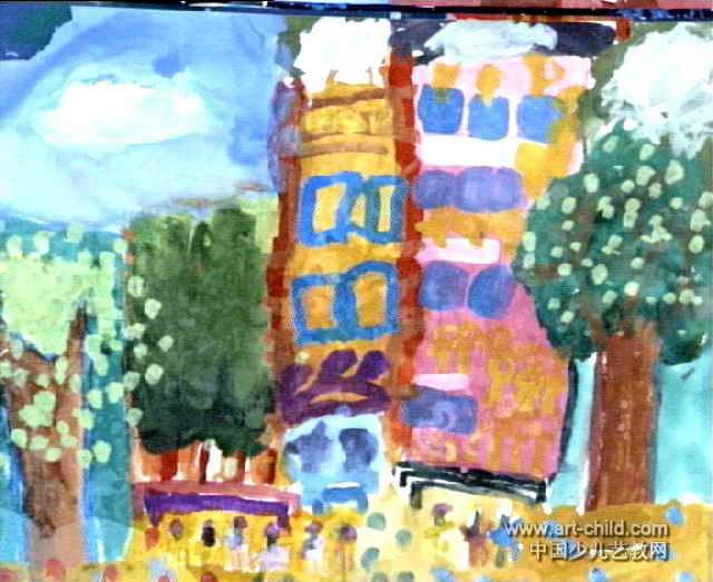 大房子儿童水粉画属于水粉画