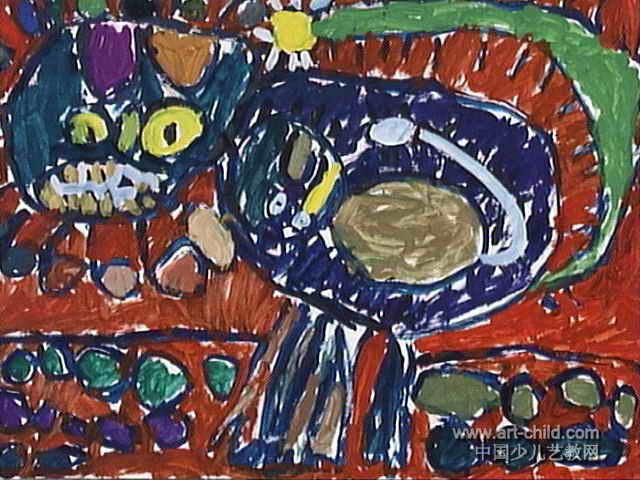 母与子儿童画,这幅水粉画作品长480px