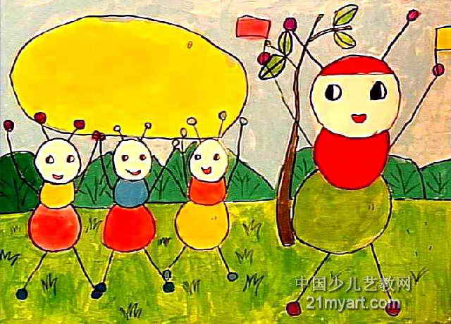 蚂蚁搬豆子儿童画作品欣赏