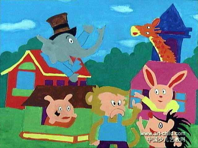 动物乐园儿童画3幅