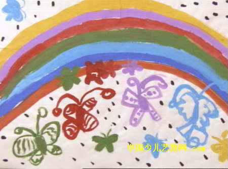 简笔画 儿童画 儿童水粉画 >> 彩虹和蝴蝶儿童画   彩虹和蝴蝶儿童画