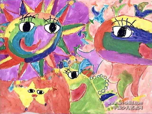 太阳月亮和星星儿童画作品欣赏
