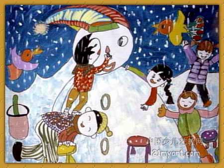 雪下大了儿童画属于油画棒画,长338px,宽450px,作者王林泉,来自洛阳市
