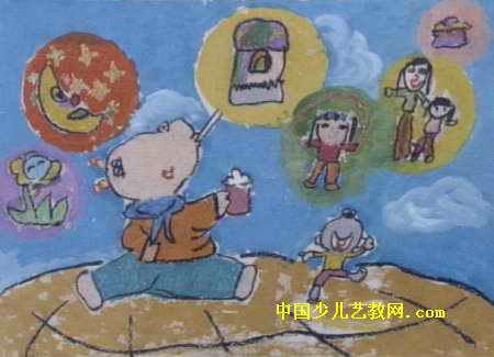 多彩的泡泡儿童画