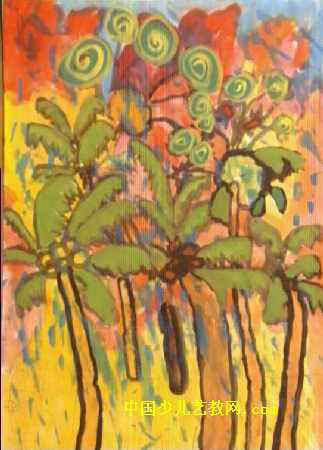 儿童油画棒简笔画_热带雨林儿童水粉画