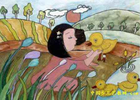 小鸭别哭儿童画