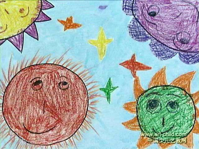 太阳的一家儿童水粉画