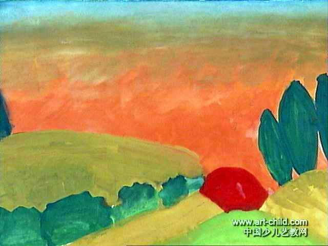 日出儿童画,此幅水粉画尺寸为480x640像素,作者李净怡,女,8岁,来自