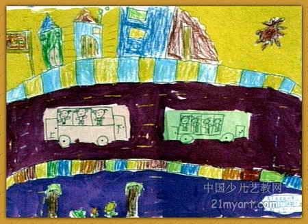 马路上儿童画2幅