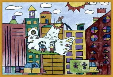 美丽城市儿童画2幅