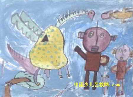 正义之战儿童水粉画