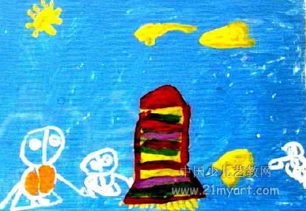 太空旅行儿童画4幅