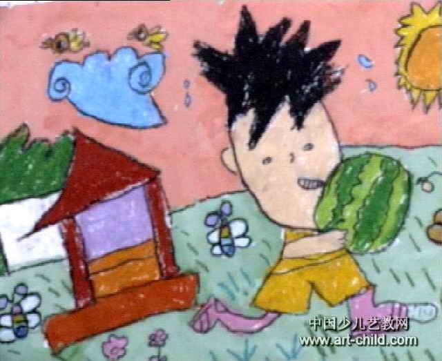 夏天儿童画3幅