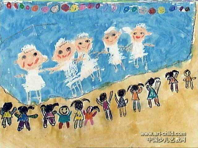 水上舞蹈儿童画作品欣赏