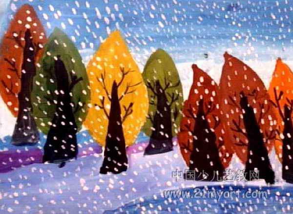"""""""雪""""儿童画,此幅水粉画大小为438x600像素,作者王敬泊,来自涧西区聚艺"""