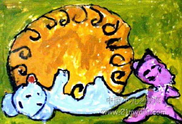 老鼠偷鸡蛋儿童水粉画