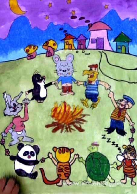 动物舞会儿童画2幅
