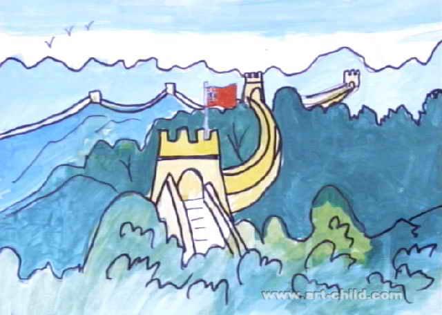 长城儿童画作品欣赏