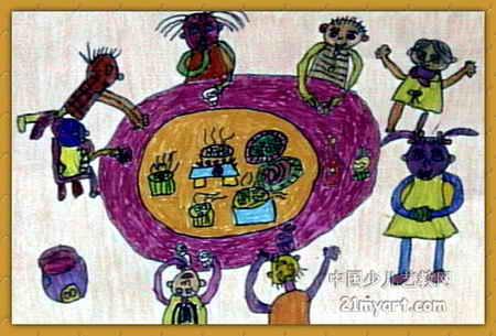 快乐的午餐儿童画2幅