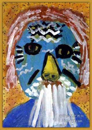 鬼脸爷爷儿童画,此幅水粉画大小为450x319像素,作者张希悦,来自河南省南阳市政府机关幼儿园,女,5岁.